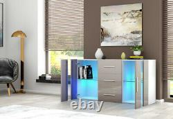 Modern Sideboard Cupboards Storage Cabinet Stand 3 Drawers 2 Doors LED Light
