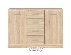 Modern Sonoma Oak Effect Large Sideboard Storage Cabinet 2 Doors 4 Drawers Nepo