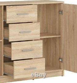 Modern Sonoma Oak Effect Large Sideboard Storage Cabinet 2 Doors 4 Drawers Nepo