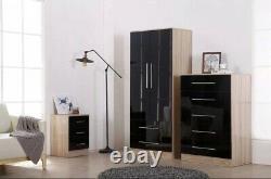 Modern large 2 door wardrobe, 2 drawers, in HIGH GLOSS BLACK/WHITE/GREY