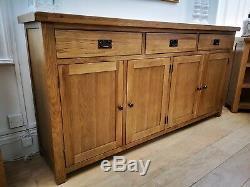 Montreal Oak Large 4 Door 3 Drawer Sideboard / Solid Wood Storage Cabinet