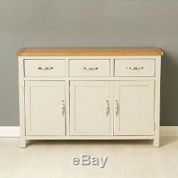 Mullion Painted Large Sideboard / Large 3 Door 3 Drawer Sideboard with Oak Top