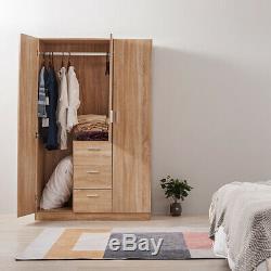 NEW Wooden 3 Door 3 Drawer Large Wardrobe Storage Furniture Black/White/Oak