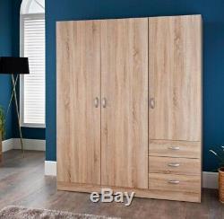 NEW XL 3 Door 2 Drawer Triple Large Wardrobe Cabinet Storage Unit Oak Effect