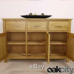 Nebraska Oak Large Sideboard / 3 Door 3 Drawer Storage Cabinet & Cupboard / New