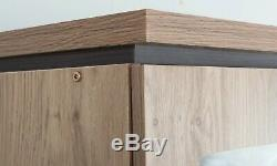 New Charles 3 Door 2 Drawer Triple Large Mirrored Combi Wardrobe Oak Effect