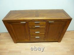 New Large Contemporary Acacia Wood 2 Door 4 Drawer Sideboard DFS Furniture