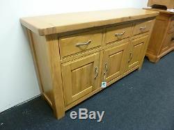 New Large Contemporary Chunky Oak 3 Door 3 Drawer Sideboard Morris Furniture