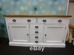 New Large Parquet Oak & White 2 Door 4 Drawer Sideboard Furniture Store