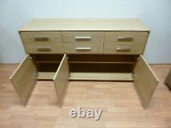 New Large Scandinavian Solid Oak 3 Door 6 Drawer Sideboard Ducal Furniture