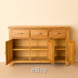 Newlyn Oak Large Sideboard / 3 Door 3 Drawer Oak Cabinet / Light Oak Cupboard