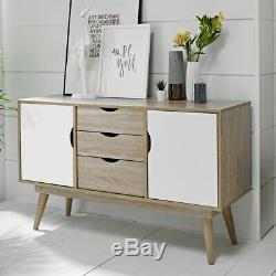 Nordi Large 2 Door 3 Drawer Sideboard White Oak Scandinavian Style Living Room
