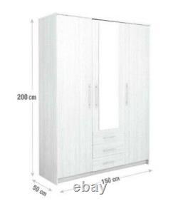 Normandy 3 Door 3 Drawer Large Mirrored Wardrobe Oak Effect