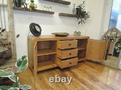 North American Oak Lrg 3 Drawer 2 Door Sideboard Width 165cm Adjustable Shelves