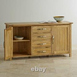 Oak Furniture Land Newark Large Sideboard Natural Solid Oak 2 Door 4 Drawer