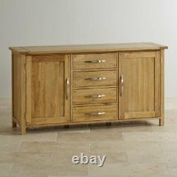 Oak Furnitureland Newark Large Sideboard Natural Solid Oak 2 Door 4 Drawer
