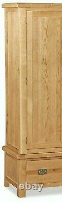 Oak Large Double Wardrobe 2 Doors 1 Drawer Oakvale Country Rustic Solid Wood