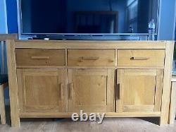 Oak Large Sideboard, 3 Door Wood Cupboard, 3 Drawer Storage Cabinet & Large Mirror