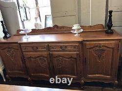 Oak Vintage French Louis XV Style 4 Door/2 Drawer Large Sideboard