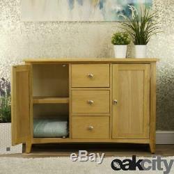 Oakland Modern Oak Sideboard Large 2 Door 3 Drawer Cabinet Light Wood Tone