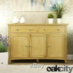 Oakland Modern Oak Sideboard Large 3 Door 2 Drawer Cabinet Light Wood Tone