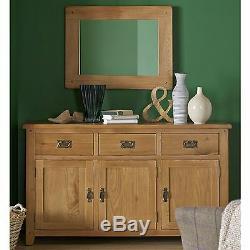 Odessa oak furniture large three door three drawer sideboard