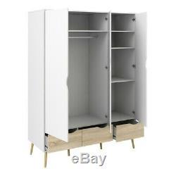 Oslo Large Retro Scandinavian Style Wardrobe 3 Doors 3 Drawers White & Oak