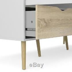 Oslo Large Retro Scandinavian Style Wardrobe 3 Doors 3 Drawers White & Oak Solid