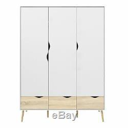 Oslo Large Wardrobe 3 Doors 3 Drawers White and Oak