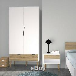 Oslo Retro Scandinavian Spindle Style Large Wardrobe 2 Doors 2 Drawers in White
