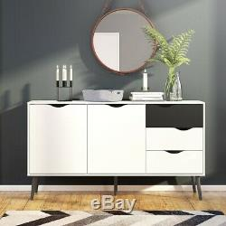 Oslo Retro Spindle Style Sideboard Large 3 Drawers 2 Doors in White and Black