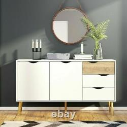 Oslo Retro Spindle Style Sideboard Wide Large 3 Drawers 2 Doors White and Oak -f