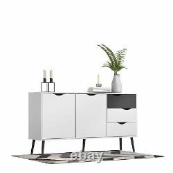 Oslo Sideboard Large 3 Drawers 2 Doors in White and Black Matt White and Bla