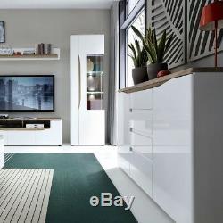 Oslo White Gloss & Oak Large Wide 4 Door 2 Drawer Sideboard