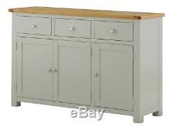 Padstow Grey Large Sideboard 3 Door Drawer Solid Pine Wood Painted Oak Cupboard