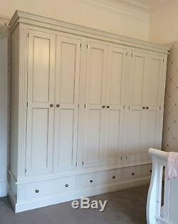 Painted 6 Door Wardrobe with fluting detail over 3 large drawers