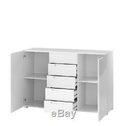 Perth White High Gloss Large 2 Door /5 Drawer Sideboard Lounge Storage Unit LY03