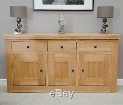 Phoenix solid oak living dining room furniture 3 door 3 drawer large sideboard