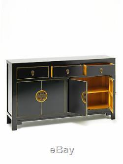 Premium Ming Oriental 2 Door 3 Drawer Large Sideboard Solid Wood Black