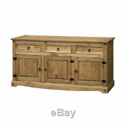 Premium Quality Corona Large Sideboard 3 Door 3 Drawers Waxed Solid Mexican Pine