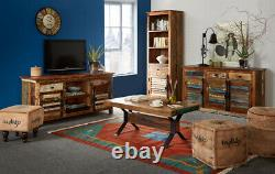 Reclaimed Boat Solid Wood Large Sideboard with 3 Drawer And 3 Door in Multi