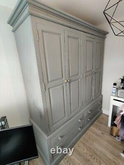 Reduced to clear Large 4 door + 4 drawer solid pine shabby chic wardrobe