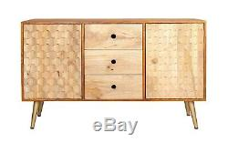 Retro Style Solid Wood and Metal Legs 3 Drawers with 2 Side Door Large Sideboard