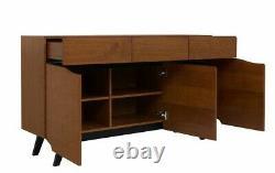 Retro Wood Veneer Large Sideboard Drawer Storage Cabinet Unit Brown Oak Madison