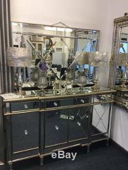 Ritz Mirrored Glass Gold Trim Large Glam Sideboard Dresser Cabinet Drawers Doors