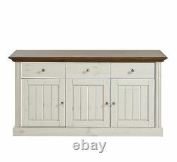 Riva White Painted Provence Large 3 Door 3 Drawer Sideboard 145cm 47cm 78cm