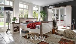 Riva White & Stone Painted Large Glazed 3 Door 4 Drawer Triple Wardrobe