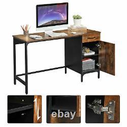 Rustic Computer Desk Drawer Door Cabinet Industrial Writing Desk Large PC Table