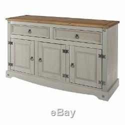 Rustic Large Sideboard Country Wooden Cabinet Solid Wood Furniture Drawers Doors