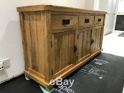 Rustic Solid Oak Sideboard Large 3 Door 3 drawer Oak Sideboard Storage Cupboard